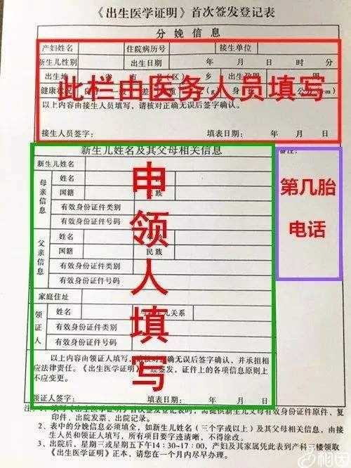 出生证首次签发登记表样本