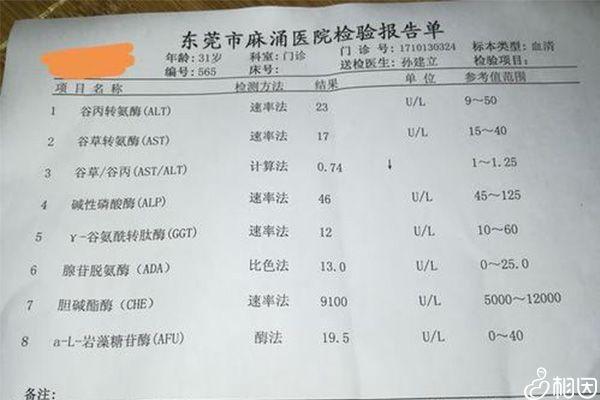 某异常肝功能检查结果报告单